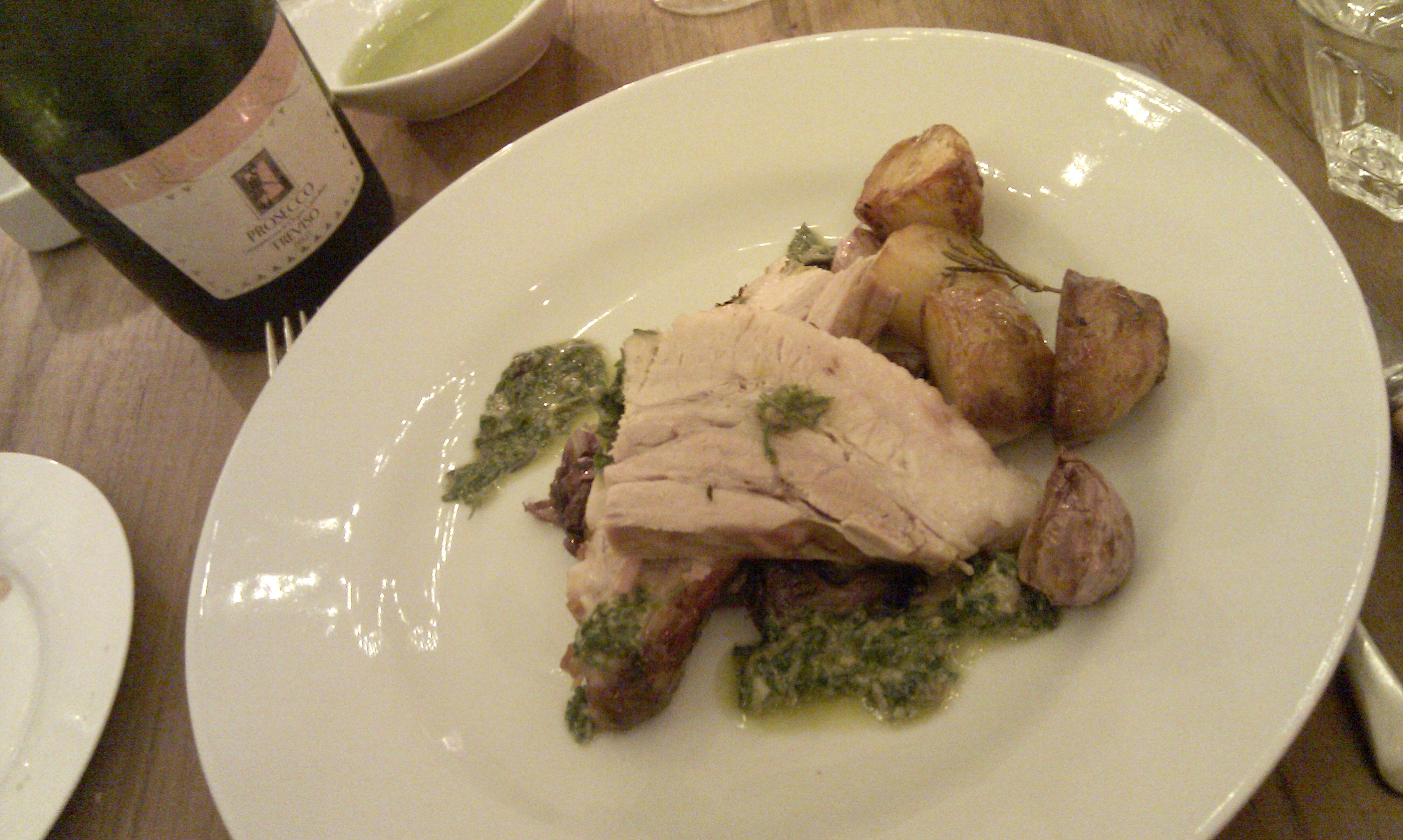 pork belly and Prosecco Riccardo at Secret Larder